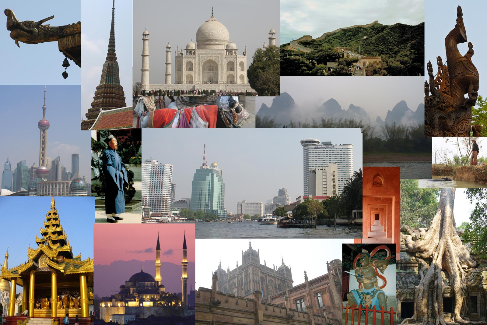 collage consisting of photographs of different sizes taken in Asia, depicting i.a. various buildings, skylines, a temple, nature and wildlife.