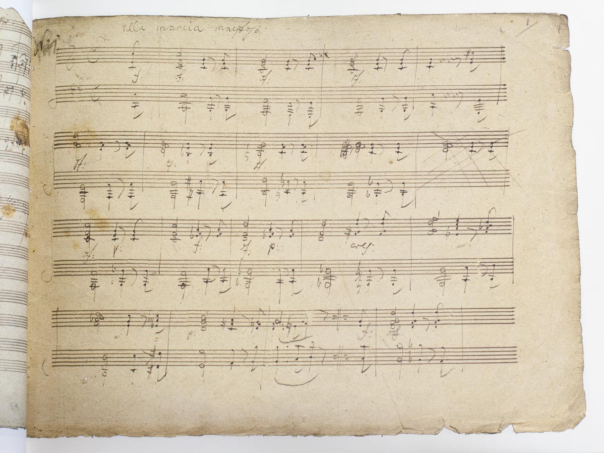 copy of a historic sheet containing handwritten music notes
