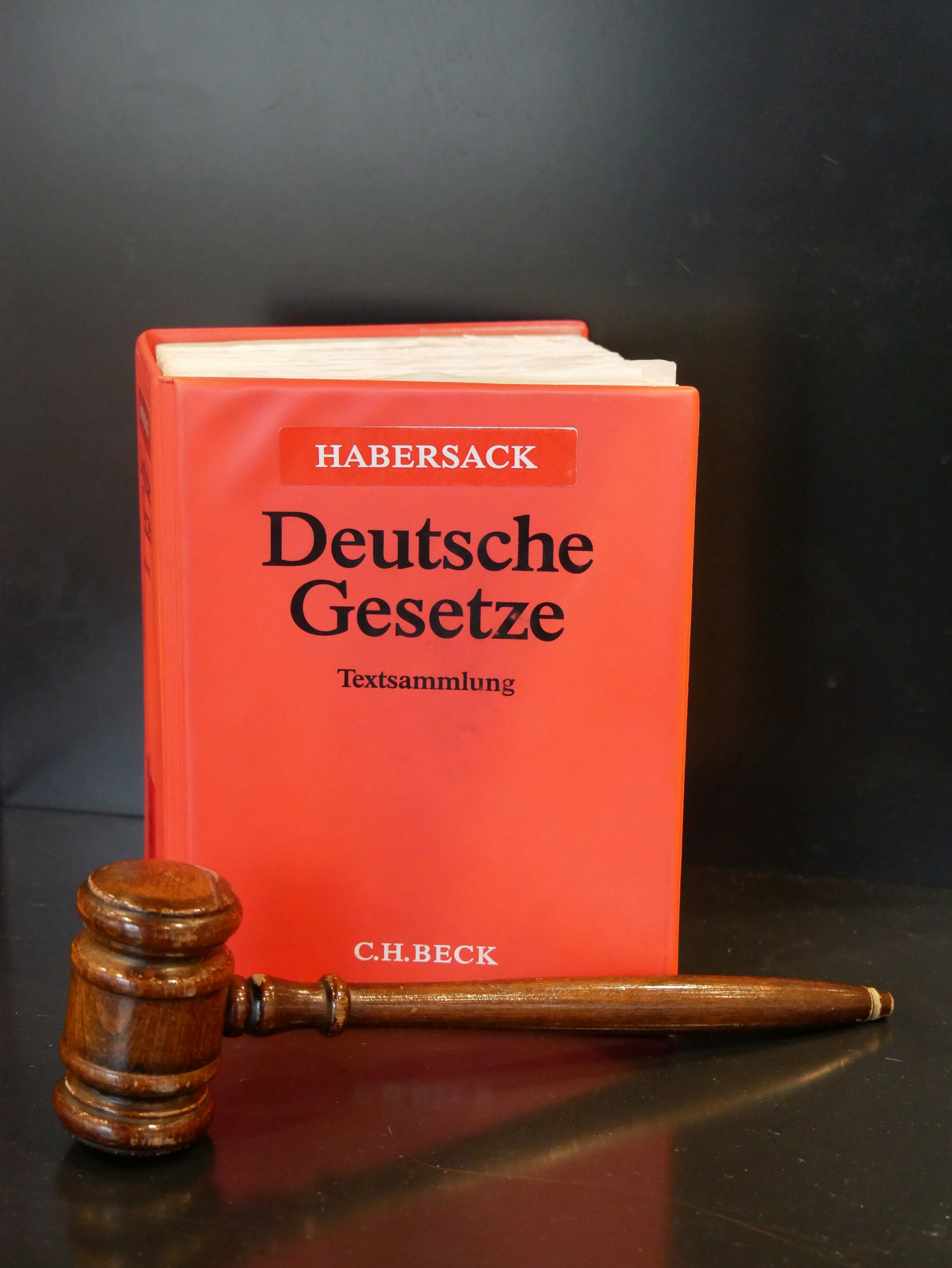 "image of a red law book entitled ""German Laws"" by Schönfelder, in front of which is placed a judge's gavel."