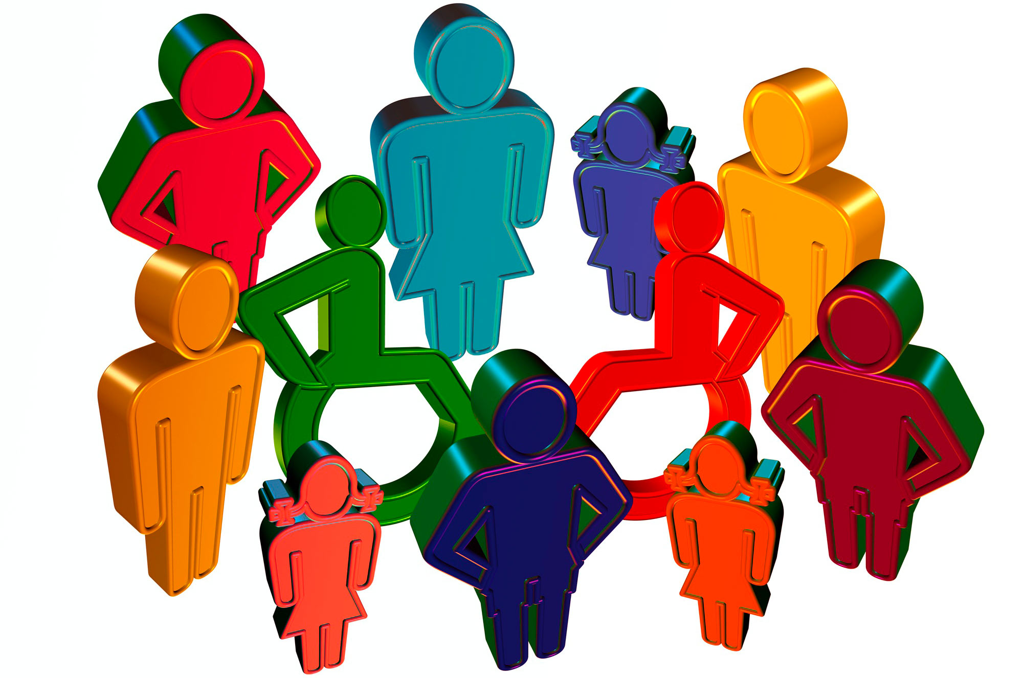 a three dimensional pictogram showing persons of different sizes and genders, some of whom are using a wheelchair