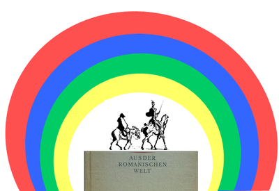 "graphic containing an illustration of two riders on horses on top of an image of the writing ""from the romanic world"". there is a graphic of a four-colored rainbow (red, blue, green, yellow) which arches over the other elements"
