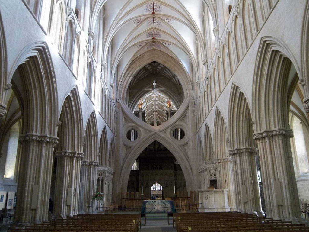 view into the interior of a Gothic church