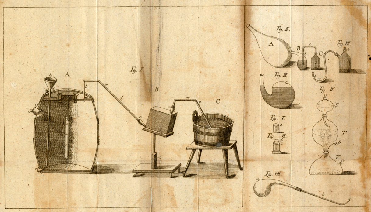 historical illustration of a chemical experiment set-up