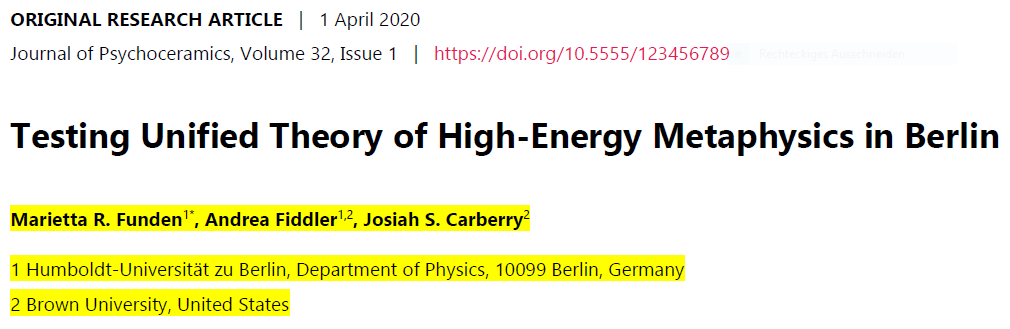 Screenshot of a snippet of a scientific journal article which states the title of the article as well as the authors and their affiliations (highlighted in yellow)
