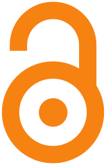 Gold open access logo (an orange and stylized illustration of an open shackle lock)
